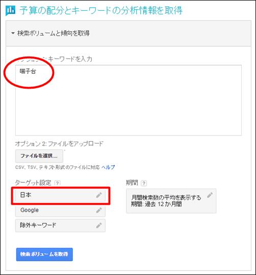 キーワードには「端子台」を入力。ターゲット地域は「日本」を追加します。